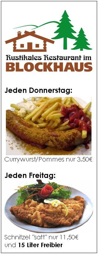 Currywurst und Schnitzel im Blockhaus